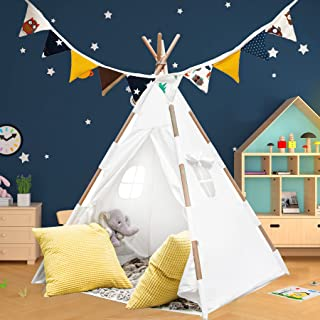Teepee Tent for Kids with Lights, Flags, Floor and Carry Case – Large Foldable Play Tipee Tent for Boys, Toddler, Baby - C...