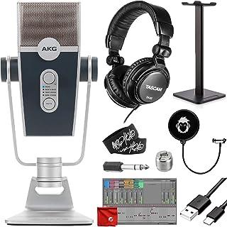 AKG Pro Audio Lyra Ultra-HD Four Capsule Multi-Capture Mode USB-C Condenser Microphone Bundle with TH-02 Closed Studio Hea...