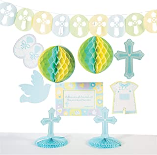 Fun Express - Sweet Christening Blue Decor Kit for Party - Party Supplies - Licensed Tableware - Misc Licensed Tableware - Party - 1 Piece
