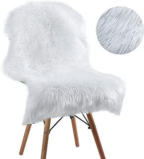 YOH Faux Sheepskin Area Rugs Bling Fluffy Sheepskin Rug Super Soft Twinkle Sheepskin Chair Pad White Fluffy Rug Floor Mat Children Play Carpet for Bedroom Party Home Decor (2 x 3 Feet, White)