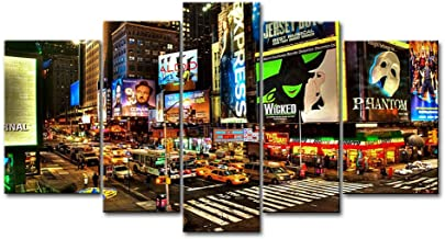 5 Panel Wall Art Painting City Night Broadway Street Pictures Prints On Canvas City The Picture Decor Oil For Home Modern Decoration Print