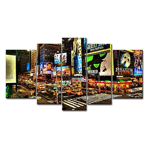 5 Panel Wall Art Painting City Night Broadway Street Pictures Prints On Canvas The Picture