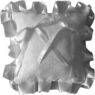 Crociedelizie, Cuscino portafedi cuscinetto fedi in tela aida rifinitura volant in raso da ricamare a punto croce