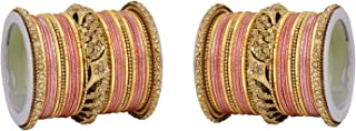 Ratna Ethnic Indian Bollywood Antique Gold Kada Women Traditional Bridal Wedding Wear Bangles Set Jewelry
