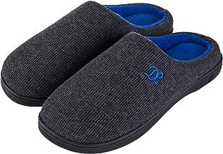 DL Mens Memory Foam Slippers, Slip on Bedroom Slippers for Mens Indoor Outdoor, Men's House Slippers Non-Slip Hard Rubber ...