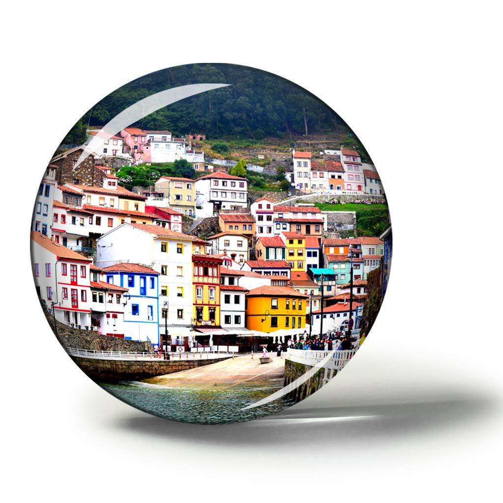 Hqiyaols Souvenir España Cudillero Asturias España Imanes Nevera Refrigerador Imán Recuerdo Coleccionables Viaje Regalo Circulo Cristal 1.9 Inches: Amazon.es: Hogar