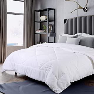 INGALIK All-Season Bed Comforter Best Soft Down Alternative Quilted Comforter - Summer Cooling-Machine Washable (White, Queen 88 x 88 inches)