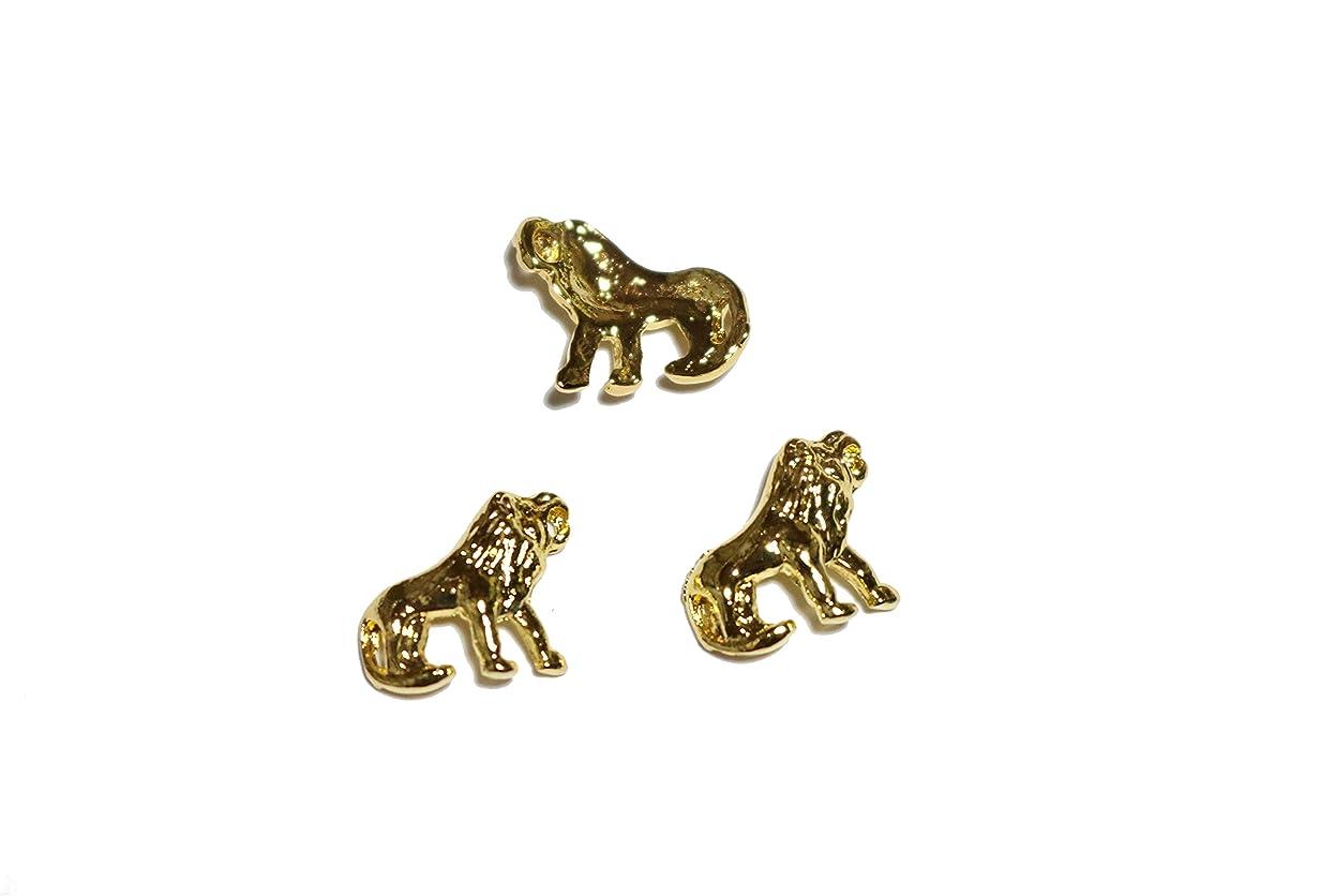 サンダル浴室腰【jewel】メタルネイルパーツ ライオン 5個入 ゴールドorシルバー スタッズ ジェルネイル デコ素材 (ゴールド)