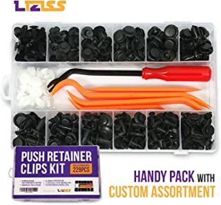 LIZISS 229pcs Car Push Retainer Clips Kit – Auto Plastic Fasteners Assortment, 11 Sizes Push Pin Rivet + 2 Sizes Door Trim Panel Retainer + Removal Tools for GM Ford Toyota Honda Chrysler Nissan
