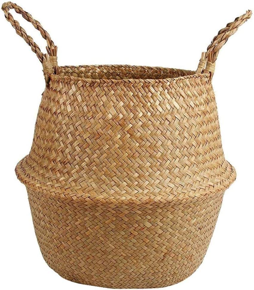 EElabper Seagrass sale Storage Basket with Plant It is very popular Woven Handles Belly