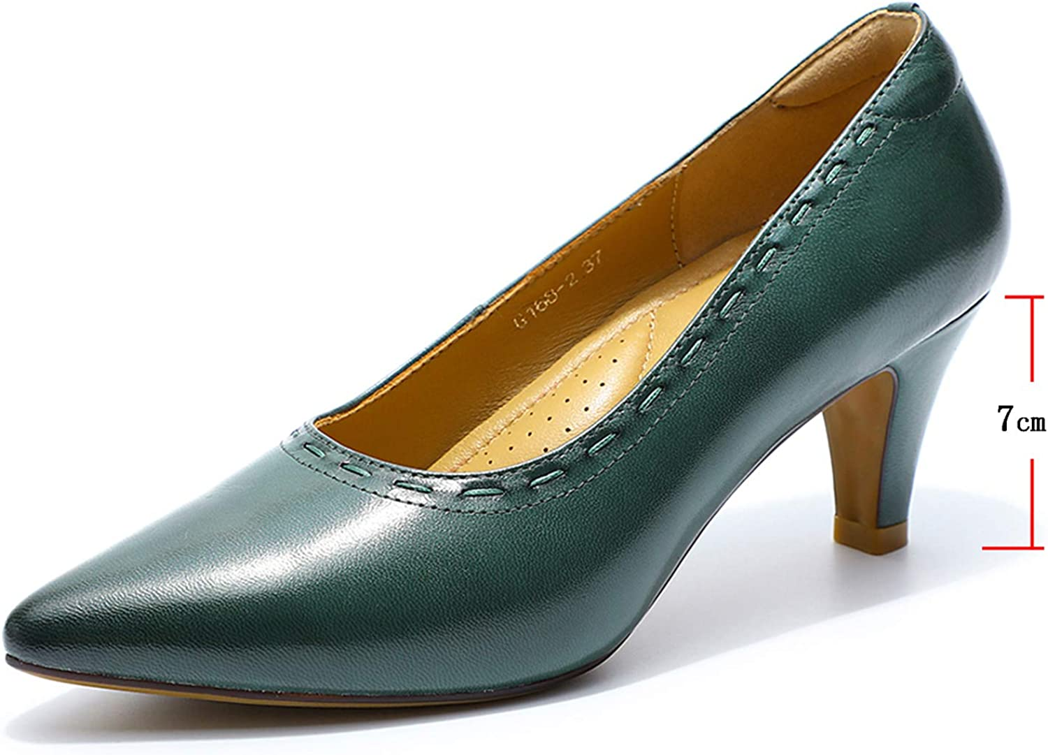 Mona flying Womens Solid Leather Pointed Toe Dress Pumps High Heels for Work Party