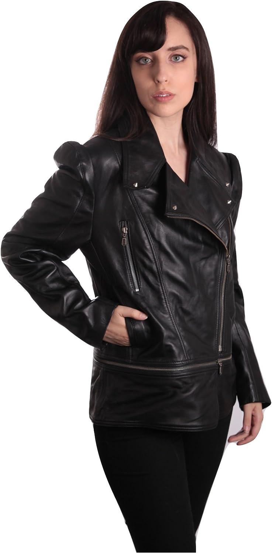Fadcloset Ladies Anthracite Black Leather Jacket