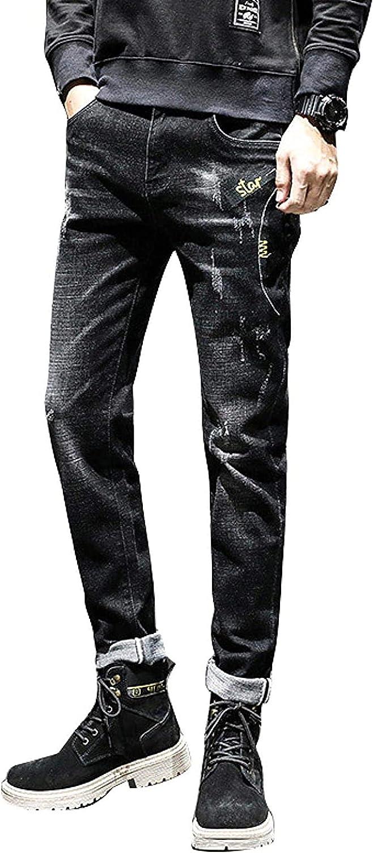shipfree ZYUEER Men's Jeans Fashion Printing Slim-fit Denim Leg New York Mall Straight