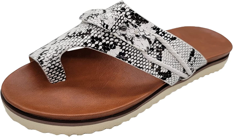 Toe Sandals For Women, Women'S Orthopedic Correction Leather Ring Toe Casual Bunion Slippers,Flip-Flops Open Slide Cork Footbed Sandal