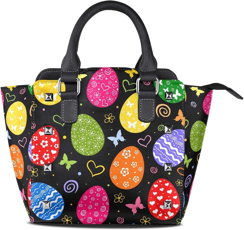 My Little Nest Women's Top Handle Satchel Handbag Easter Eggs Butterfly Ladies PU Leather Shoulder Bag Crossbody Bag