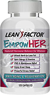 EmpowHER - Natural Hormone Balance for Women - Hot Flash & Menopause Relief - Reduce PMS & Night Sweats - Support Healthy Weight Loss - Safe & Effective Herbal Supplement - 360 Pills (3 Bottles)