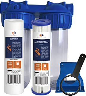 """Aquaboon 2-Stage Universal 10"""" Valve-in-Head Whole House Water Filtration System, Includes Sediment & Pleated Sediment Filter Cartridges (3/4"""" Inlet/Outlet Brass Port)"""