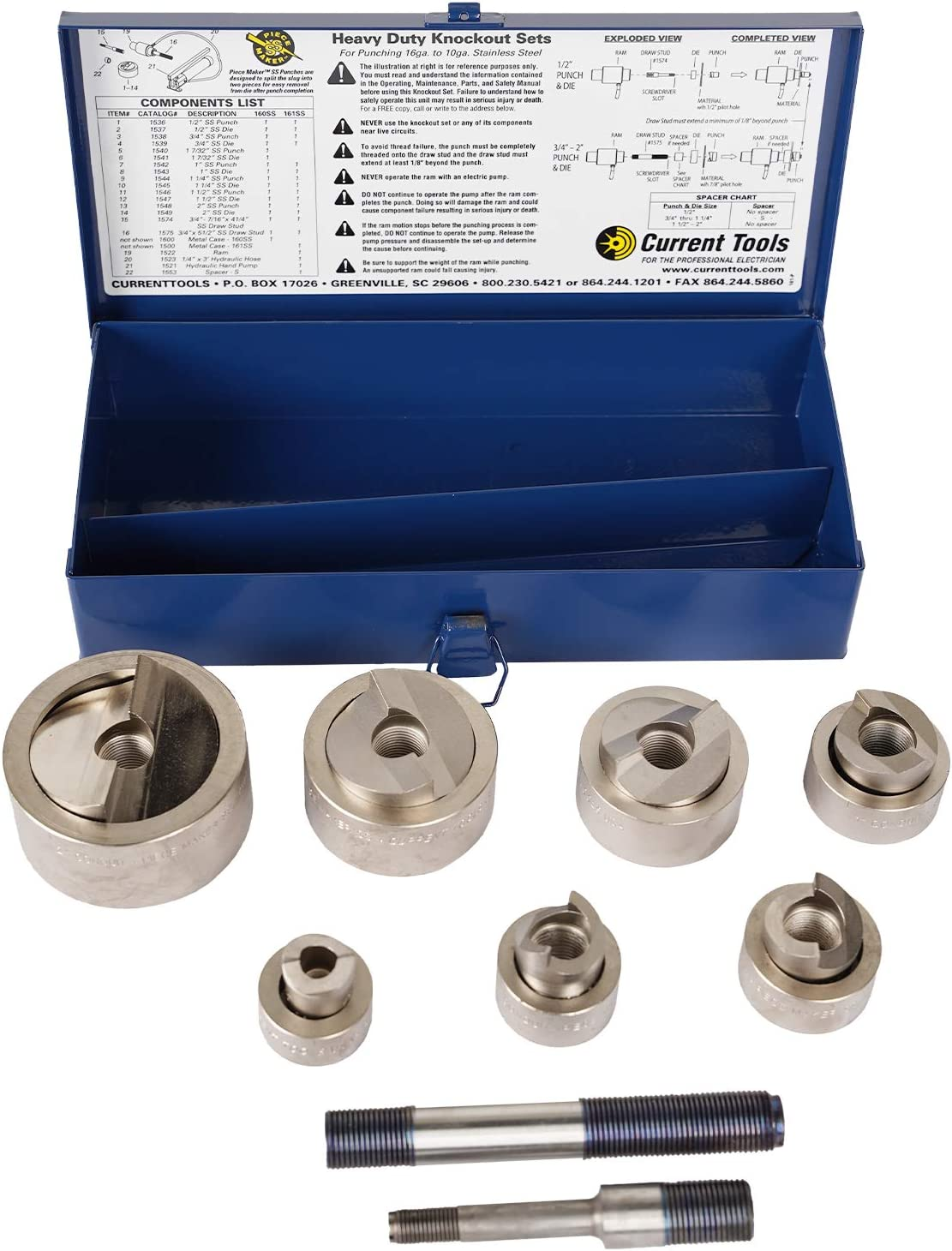 CURRENT TOOLS 160SS Knockout Set Super beauty product restock quality top for 1 Stainless - High quality 2