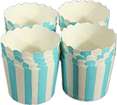 50 X Cupcake Wrapper Paper Cake Case Baking Cups Liner Muffin Dessert Cup Blue Striped - Baking Cups