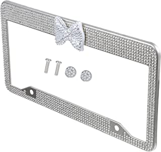 FAVOMOTO 1 par Car License Plate Frame Moldura de Aço Inoxidável Bling Glitter Tampa Da Placa De Licença de Strass Com Laç...