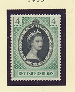 British Honduras Scott #143 - Queen Elizabeth II Coronation, British Commonwealth Common Design Issue From 1953 - Collectible Postage Stamps
