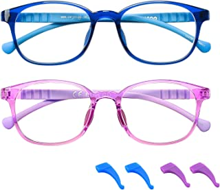 FONHCOO Blue Light Blocking Glasses for Kids 2 Pack, Computer Gaming Glasses for Boys and Girls Age 3-15 with Anti Glare & Eyestrain & Blue Ray (1-Purple & Dark Blue)