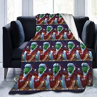HelloHia Grinch Throw Blanket Soft Micro-Plush Flannel Reversible Warm Blanket for Couch Fleece Blanket All Season,80