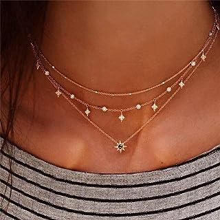 Handcess Boho gelaagde kettingen gouden zon hanger ketting ster kwastje choker sieraden met kristal voor vrouwen en meisjes