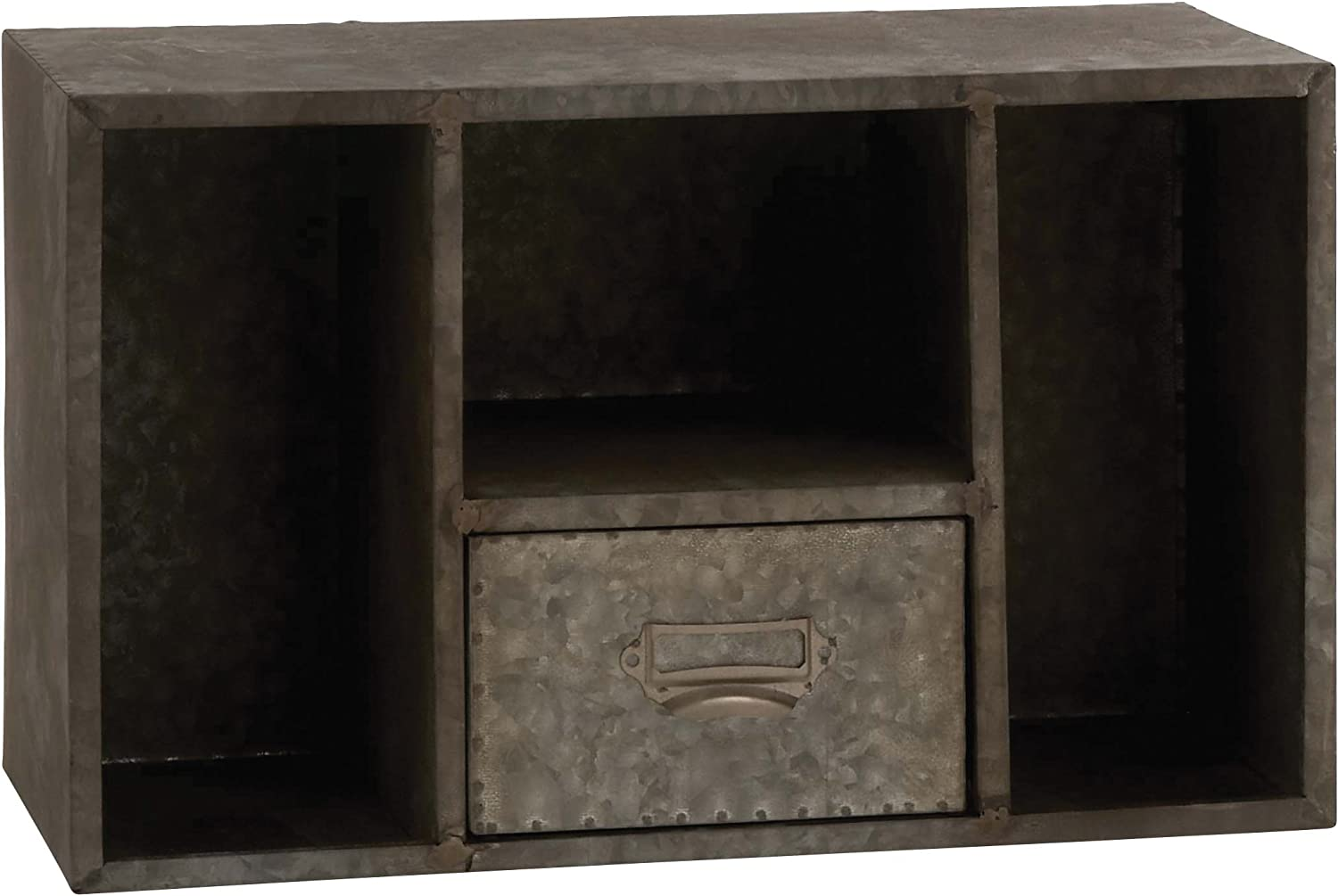Benzara 97185 Attractive and Rusty Styled Square Wall Shelf