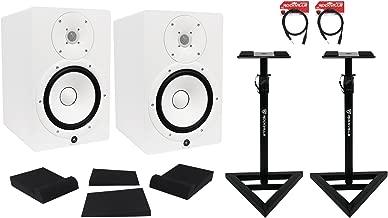 Package: (2) Yamaha HS8 W White 2-Way Bi-Amplified Nearfield Studio Monitors + Auralex MOPAD Studiofoam Monitor Isolation Pad + Pair of Rockville RVSM1 Heavy Duty Studio Monitor Stands + 2) Rockville RCXMB6-B 6' XLR to 1/4