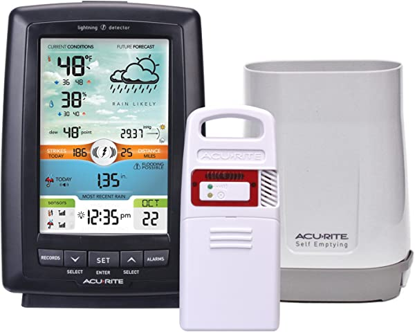 AcuRite 01021M Color Weather Station With Rain Gauge Lightning Detector
