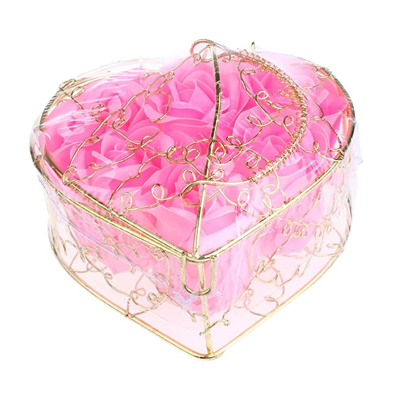 Baosity 6個 ソープフラワー 石鹸の花 バラ 薔薇の花 ロマンチック 心の形 ギフトボックス 誕生日 プレゼント 全5仕様選べる - ピンク