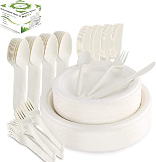 Farieyln-X 125 Pcs Disposable Dinnerware Set Compostable Sugarcane Cutlery Tableware Paper Plates and Dinner Plates, Knive...