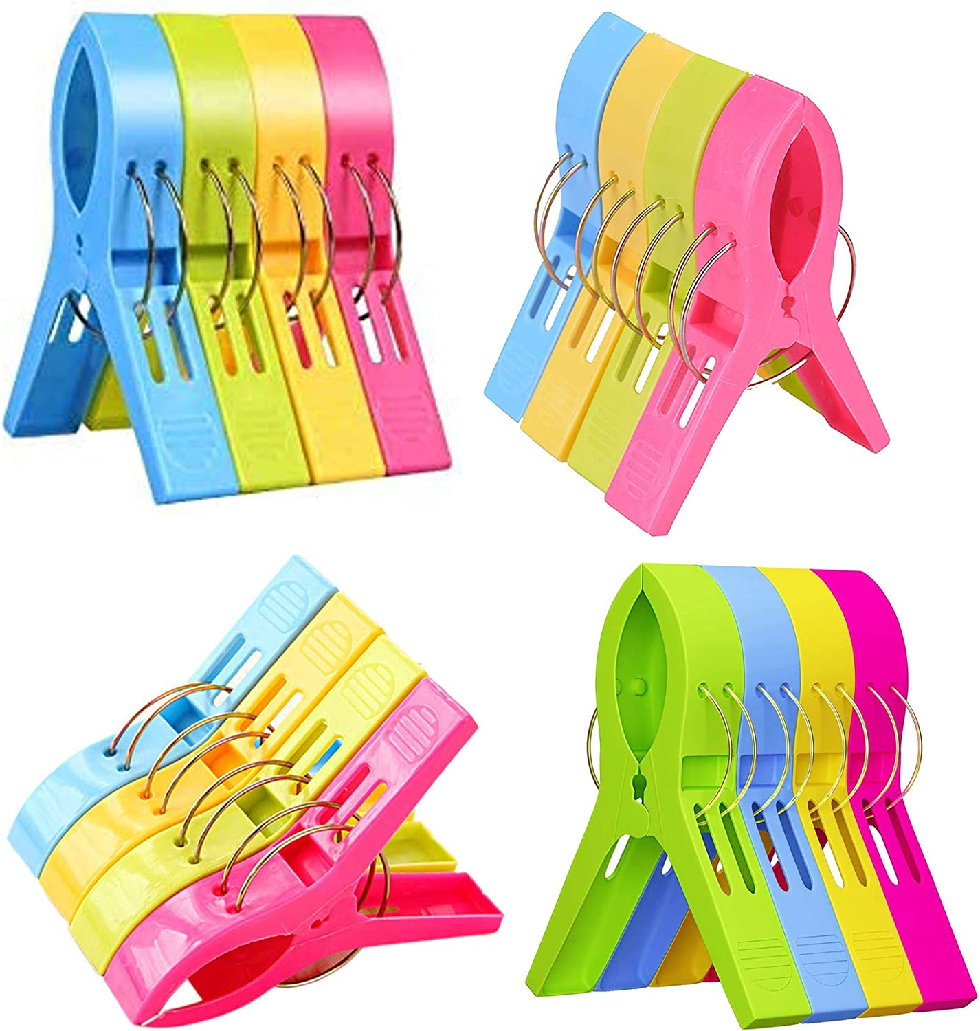 Yansanido 16 Pack Beach Towel Clips Chair Clips Towel Holder in Fun Bright Colors