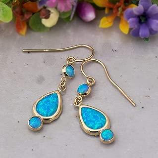 14K Gold Blue Opal Drop Earrings - 3 Opal Dainty Stones Dangle Earrings: Main stone 7x10mm and two 4mm Stones, 14K Solid Yellow Gold Earrings with October Birthstone, Handmade Jewelry Classy Women