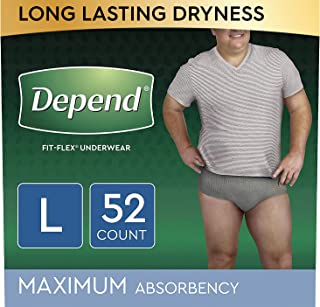 Depend FIT-FLEX Incontinence Underwear for Men, Maximum Absorbency, Disposable, L, Grey,..