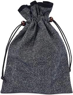 巾着袋 裏地付き 和柄 鮫小紋×黒 日本製 御朱印帳袋 御朱印帳入れ
