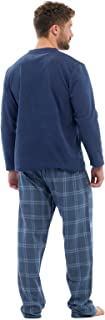 Mens Thermal Fleece Top & Flannel Check Bottoms PJ Pyjama Set Winter Nightwear