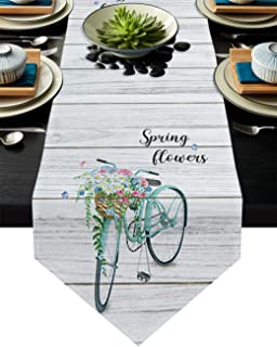 Infinidesign Spring Floral Table Runner, Burlap Linen Table Runners, Decorative Table Setting Covers for Parties Holiday B...