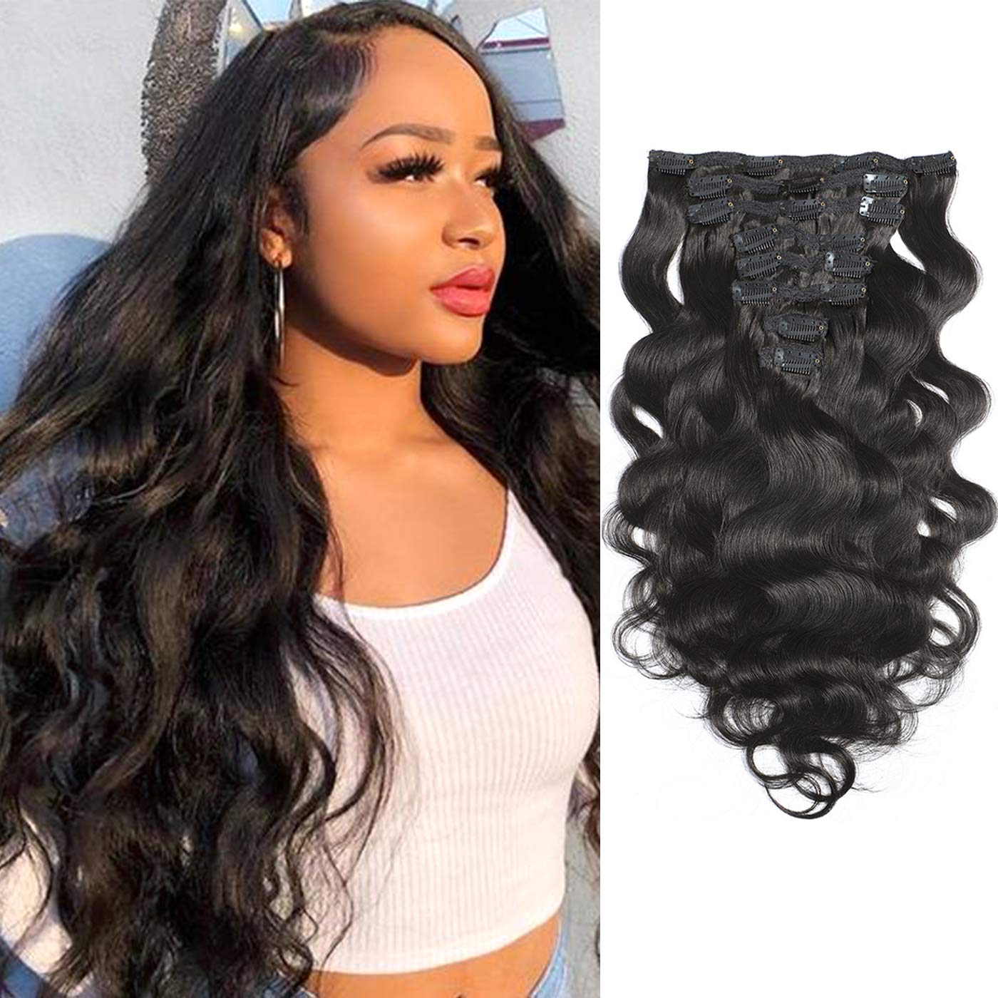 Large-scale sale Clip in Body Wave Hair Extension Brazilian Virgin Natural Store Bod 1B