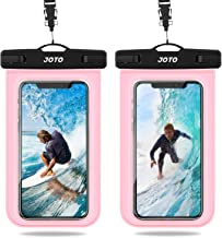 "JOTO Universal Waterproof Pouch, IPX8 Waterproof Cellphone Dry Bag Underwater Case for iPhone 11 Pro Max Xs Max XR X 8 7 6S+ SE 2020, Galaxy S20 Ultra S10 S9 S8/Note10+ 9 up to 6.9"" -2 Pack,Clearpink"