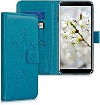 جراب محفظة kwmobile لهاتف Samsung Galaxy J4+ / J4 Plus DUOS - غطاء قلاب واقٍ من جلد البولي يوريثان مع إغلاق مغناطيسي، وفتحات للبطاقات ومسند