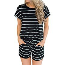 ANRABESS Women  39 s Summer Solid Jumpsuit Casual Loose Short Sleeve  Jumpsuit Rompers with dd41426c8