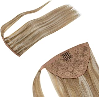 LaaVoo 22inch Clip in Ponytail Extension Wrap Around Pony Tail Human Hair Brazilian Virgin Straight Human Hair Weave Extensions Highlighted Light Golden Brown Fading to Light Blonde 100g/Pack #12/24