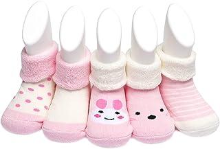 Adorel, Calcetines Invierno de Felpa para Bebé Paquete de 5