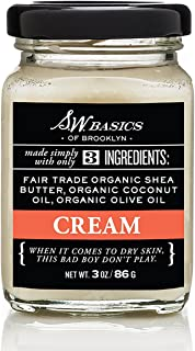S.W. Basics Cream, Fair Trade Raw Shea Butter, Extra-Virgin Coconut Oil, Extra-Virgin Olive Oil, Lasting Hydration for Face and Body, 100% Natural and Cruelty Free, 3.0 oz