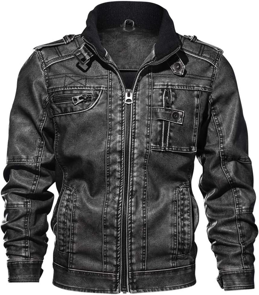 Qheng Vintage Stylists Rodeo PU Leather Jacket PU Leather Coat Autumn Slim Fit Faux for Man Male Elegant Cool