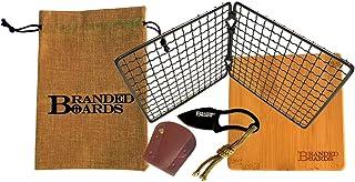 Branded Boards Bushcraft Stainless BBQ Grill Grate, Eco-Friendly Bamboo Cutting Board, Burlap Hemp Drawstring Bag, Mini Ca...