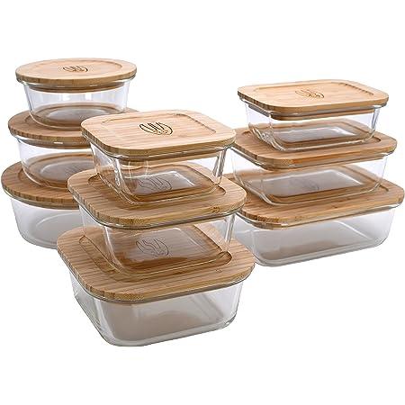 Wooglaste - Boite de Conservation Alimentaire - Récipient en Verre Thermorésistant - Couvercle Hermétique en Bois de Bambou - 3 Formes et 3 Tailles - Lot de 9