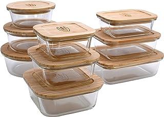 Wooglaste - Boite de Conservation Alimentaire - Récipient en Verre Thermorésistant - Couvercle Hermétique en Bois de Bambo...
